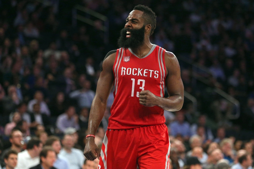 Nov 2, 2016; New York, NY, USA; Houston Rockets shooting guard James Harden (13) reacts during the third quarter against the New York Knicks at Madison Square Garden. Mandatory Credit: Brad Penner-USA TODAY Sports