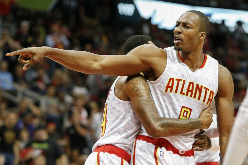 Nov 5, 2016; Atlanta, GA, USA; Atlanta Hawks center Dwight Howard (8) reacts after a foul call against the Houston Rockets in the second quarter at Philips Arena. Mandatory Credit: Brett Davis-USA TODAY Sports