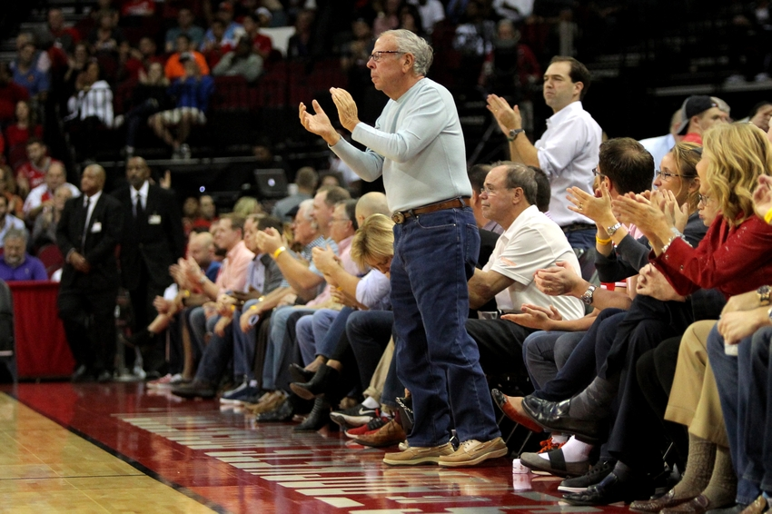 Nov 12, 2016; Houston, TX, USA; Houston Rockets team owner Leslie Alexander (standing) applauds the action against the San Antonio Spurs during the first quarter at Toyota Center. Mandatory Credit: Erik Williams-USA TODAY Sports