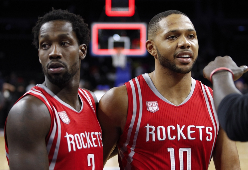 Nov 21, 2016; Auburn Hills, MI, USA; Houston Rockets guard Patrick Beverley (2) and guard Eric Gordon (10) celebrate after a game against the Detroit Pistons at The Palace of Auburn Hills. The Rockets won 99-96. Mandatory Credit: Raj Mehta-USA TODAY Sports