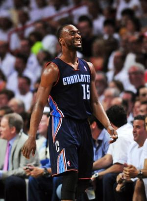 Apr 20, 2014; Miami, FL, USA; Charlotte Bobcats guard Kemba Walker (15) reacts after being called for a foul against the Miami Heat during the second half in game one during the first round of the 2014 NBA Playoffs at American Airlines Arena. The Heat won 99-88. Mandatory Credit: Steve Mitchell-USA TODAY Sports