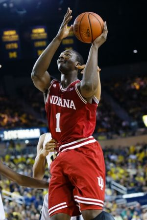 Mar 8, 2014; Ann Arbor, MI, USA; Indiana Hoosiers forward Noah Vonleh (1) shoots against the Michigan Wolverines at Crisler Arena. Mandatory Credit: Rick Osentoski-USA TODAY Sports