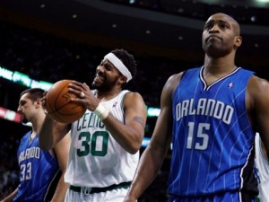 Rasheed Wallace shows frustration during tonights Celtics and Magic game.