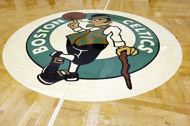 Sep 28, 2012; Waltham, MA, USA; The Boston Celtic logo on the hardwood floor during the media day at the Celtics training facility. Mandatory Credit: Greg M. Cooper-USA TODAY Sports