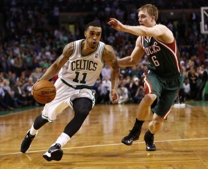 Nov 1, 2013; Boston, MA, USA; Boston Celtics shooting guard Courtney Lee (11) drives to the hoop against Milwaukee Bucks point guard Nate Wolters (6) during the second half at TD Garden. Mandatory Credit: Mark L. Baer-USA TODAY Sports
