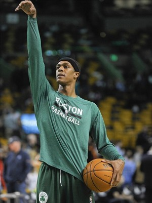 Dec 28, 2013; Boston, MA, USA; Boston Celtics point guard Rajon Rondo (9) gets set to shoot a free throw prior to the start of a game against the Cleveland Cavaliers at TD Garden. Mandatory Credit: Bob DeChiara-USA TODAY Sports