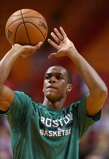 Jan 21, 2014; Miami, FL, USA; Boston Celtics point guard Rajon Rondo (9) prior to the game against the Miami Heat at American Airlines Arena. Mandatory Credit: Robert Mayer-USA TODAY Sports