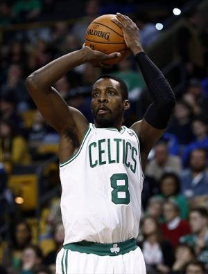 Feb 9, 2014; Boston, MA, USA; Boston Celtics small forward Jeff Green (8) shoots the ball against the Dallas Mavericks during the second half at TD Garden. Mandatory Credit: Mark L. Baer-USA TODAY Sports