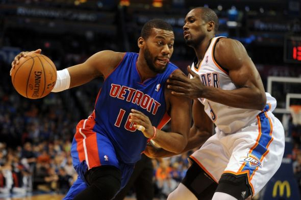 Apr 16, 2014; Oklahoma City, OK, USA; Detroit Pistons forward Greg Monroe (10) drives to the basket against Oklahoma City Thunder forward Serge Ibaka (9) during the first quarter at Chesapeake Energy Arena. Mandatory Credit: Mark D. Smith-USA TODAY Sports