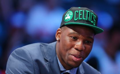 Jun 23, 2016; New York, NY, USA; Guerschon Yabusele is interviewed after being selected as the number sixteen overall pick to the Boston Celtics in the first round of the 2016 NBA Draft at Barclays Center. Mandatory Credit: Brad Penner-USA TODAY Sports