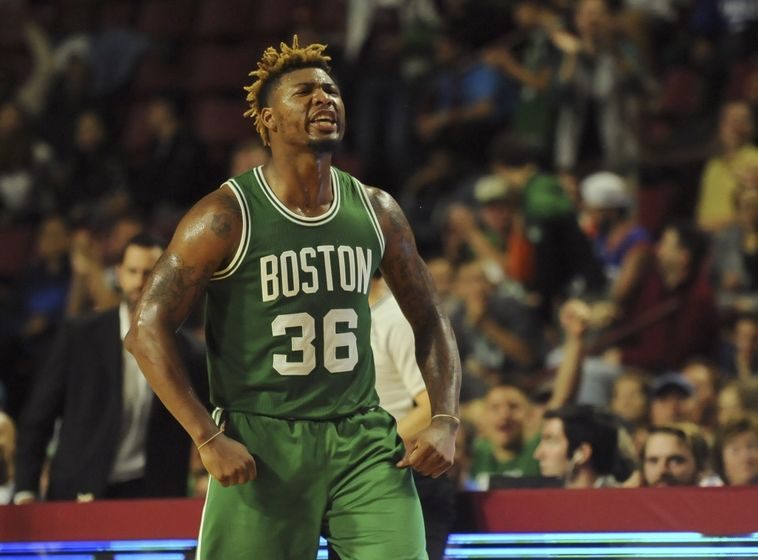 Oct 4, 2016; Amherst, MA, USA; Boston Celtics guard Marcus Smart (36) reacts during the second half against the Philadelphia 76ers at William D. Mullins Center. Mandatory Credit: Bob DeChiara-USA TODAY Sports