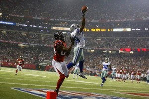 Nov 4, 2012; Atlanta, GA, USA; Dallas Cowboys cornerback Brandon Carr (39) tips a pass intended for Atlanta Falcons wide receiver Roddy White (84) during the second half at the Georgia Dome. The Falcons defeated the Cowboys 19-13. Mandatory Credit: Josh D. Weiss-USA TODAY Sports