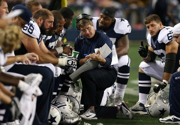 Nov 22, 2012; Arlington, TX, USA; Dallas Cowboys offensive coordinator Bill Callahan (center) with the offensive line during the game against the Washington Redskins during a game on Thanksgiving at Cowboys Stadium. Mandatory Credit: Matthew Emmons-USA TODAY Sports