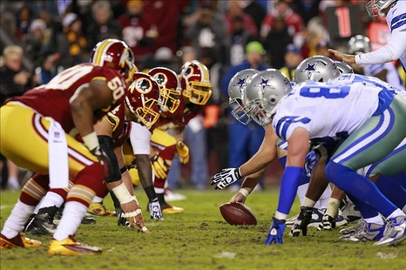 December 30, 2012; Landover, MD, USA; Washington Redskins defensive players line up against Dallas Cowboys offensive players in the second quarter at FedEx Field. Mandatory Credit: Geoff Burke-USA TODAY Sports