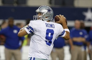 Sep 8, 2013; Arlington, TX, USA; Dallas Cowboys quarterback Tony Romo (9) warms up before the game against the New York Giants at AT