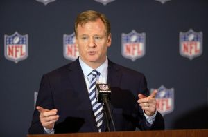 Mar 24, 2014; Orlando, FL, USA: NFL commissioner Roger Goodell speaks at a press conference during the NFL Annual Meetings. Mandatory Credit: Rob Foldy-USA TODAY Sports