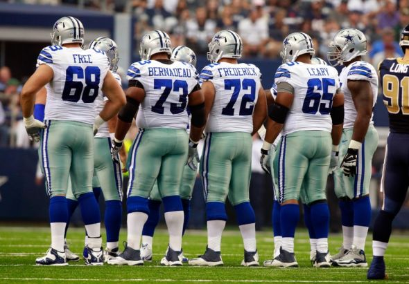 Sep 22, 2013; Arlington, TX, USA; Dallas Cowboys tackle Doug Free (68) guard Mackenzy Bernadeau (73) center Travis Frederick (72) guard Ronald Leary (65) and tackle Tyron Smith (77) in the huddle during the game against the St. Louis Rams at AT&T Stadium. The Dallas Cowboys beat the St. Louis Rams 31-7.Mandatory Credit: Tim Heitman-USA TODAY Sports