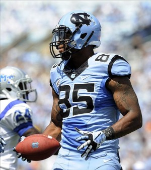 Sep 7, 2013; Chapel Hill, NC, USA; North Carolina Tar Heels tight end Eric Ebron (85) during their game against the Middle Tennessee Blue Raiders at Kenan Memorial Stadium. Mandatory Credit: Liz Condo-USA TODAY Sports
