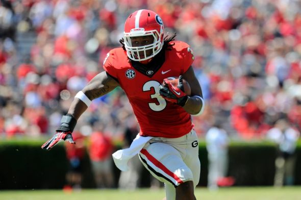 Apr 12, 2014; Athens, GA, USA; Georgia Bulldogs running back Todd Gurley (3) runs for a touchdown during the first half of the Georgia Spring Game at Sanford Stadium. Red defeated Black 27-24. Mandatory Credit: Dale Zanine-USA TODAY Sports