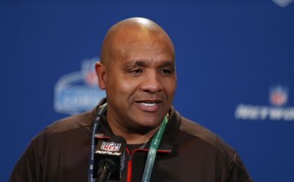 Feb 24, 2016; Indianapolis, IN, USA; Cleveland Browns coach Hue Jackson speaks to the media during the 2016 NFL Scouting Combine at Lucas Oil Stadium. Mandatory Credit: Brian Spurlock-USA TODAY Sports