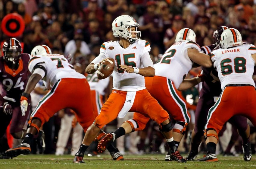 Oct 20, 2016; Blacksburg, VA, USA; Miami Hurricanes quarterback Brad Kaaya (15) throws a pass during the third quarter against the Virginia Tech Hokies at Lane Stadium. Mandatory Credit: Peter Casey-USA TODAY Sports