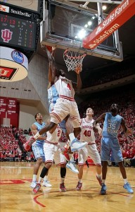 Nov 27, 2012; Bloomington, IN, USA; Indiana Hoosiers guard Remy Abell (23) lays the ball in against the North Carolina Tar Heels at Assembly Hall. Mandatory Credit: Brian Spurlock-US PRESSWIRE
