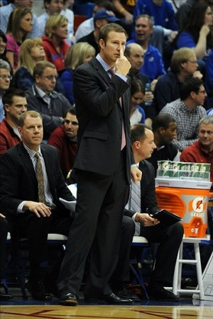 Jan 9, 2013; Lawrence, KS, USA; Iowa State Cyclones head coach Fred Hoiberg signals to his players against the Kansas Jayhawks in the second half at Allen Fieldhouse. Kansas won the game 97-89 in overtime. Mandatory Credit: John Rieger-USA TODAY Sports
