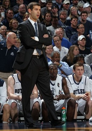 Jan 19 2013; Indianapolis, IN, USA; Butler Bulldogs coach Brad Stevens stands on the sidelines against the Gonzaga Bulldogs at Hinkle Fieldhouse. Butler defeats Gonzaga 64-63. Mandatory Credit: Brian Spurlock-USA TODAY Sports