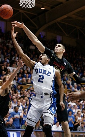 Jan 26, 2013; Durham, NC, USA; Duke Blue Devils guard Quinn Cook (2) drives against Maryland Terrapins center Alex Len (25) during the second half at Cameron Indoor Stadium. Mandatory Credit: Mark Dolejs-USA TODAY Sports