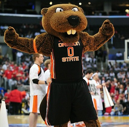 March 9, 2012; Los Angeles, CA, USA; Oregon State Beavers mascot during a stoppage in play during the semi final round of the 2012 Pac 12 Tournament in the second half at Staples Center. Mandatory Credit: Gary A. Vasquez-USA TODAY Sports