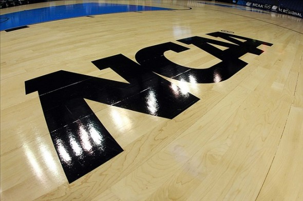 Apr 2, 2013; Norfolk, VA, USA; A general view of an NCAA logo on the court prior to the finals of the Norfolk regional between the Notre Dame Fighting Irish and the Duke Blue Devils in the 2013 NCAA womens basketball tournament at Ted Constant Convocation Center. Mandatory Credit: Geoff Burke-USA TODAY Sports