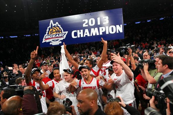 Mar 16, 2013; New York, NY, USA; Louisville Cardinals players celebrate after winning the championship game against the Syracuse Orange at the Big East tournament at Madison Square Garden. Louisville won 78-61. Mandatory Credit: Debby Wong-USA TODAY Sports