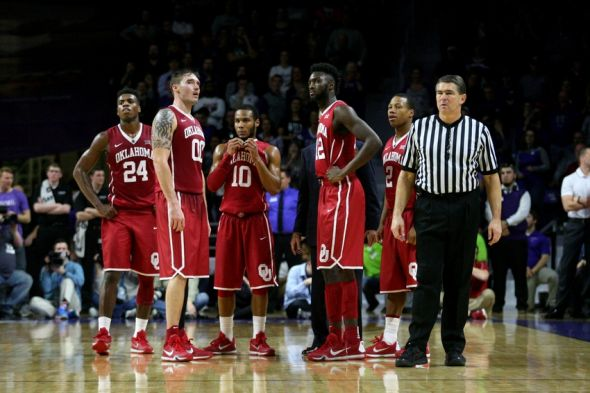 Feb 6, 2016; Manhattan, KS, USA; Members of the Oklahoma Sooners watch Kansas State Wildcats shoot free throws after a technical foul at Fred Bramlage Coliseum. The Wildcats won the game, 80-69. Mandatory Credit: Scott Sewell-USA TODAY Sports