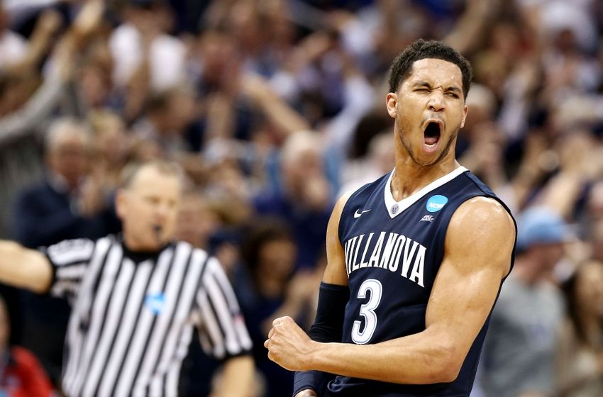 Mar 26, 2016; Louisville, KY, USA; Villanova Wildcats guard Josh Hart (3) reacts after a play against the Kansas Jayhawks during the second half of the south regional final of the NCAA Tournament at KFC YUM!. Mandatory Credit: Aaron Doster-USA TODAY Sports