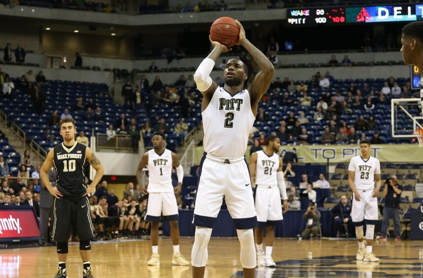 Feb 16, 2016; Pittsburgh, PA, USA; Pittsburgh Panthers forward Michael Young (2) shoots the final free throw point of the game against the Wake Forest Demon Deacons at the Petersen Events Center. PITT won 101- 96 in double overtime. Mandatory Credit: Charles LeClaire-USA TODAY Sports