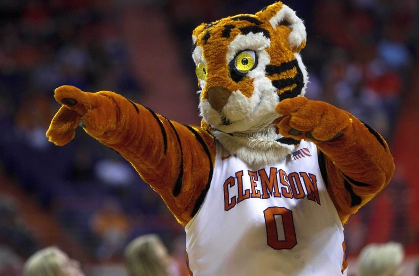 Jan 19, 2015; Clemson, SC, USA; Clemson Tigers mascot during the first half against the Florida State Seminoles at Littlejohn Coliseum. Mandatory Credit: Joshua S. Kelly-USA TODAY Sports