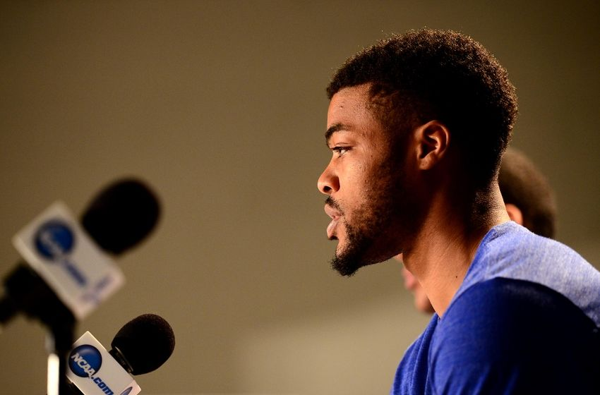 Mar 16, 2016; Des Moines, IA, USA; Kansas Jayhawks guard Frank Mason III (0) speaks to the media during a practice day before the first round of the NCAA men's college basketball tournament at Wells Fargo Arena. Mandatory Credit: Jeffrey Becker-USA TODAY Sports