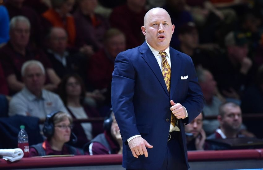 Mar 5, 2016; Blacksburg, VA, USA; Virginia Tech Hokies head coach Buzz Williams looks on in the first half of the game against the Miami Hurricanes at Cassell Coliseum. Virginia Tech defeated Miami 77-62. Mandatory Credit: Michael Shroyer-USA TODAY Sports