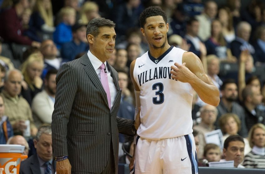 Nov 23, 2016; Villanova, PA, USA; Villanova Wildcats guard Josh Hart (3) talks with head coach Jay Wright during the second half against the Charleston Cougars at The Pavilion. The Villanova Wildcats won 63-47. Mandatory Credit: Bill Streicher-USA TODAY Sports