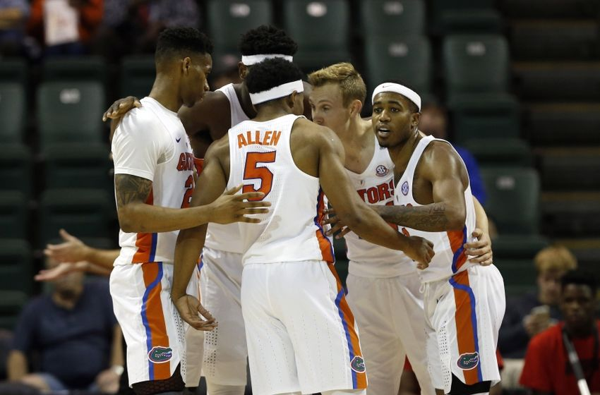 Nov 24, 2016; Kissimmee, FL, USA; Florida Gators guard Kasey Hill (0), guard KeVaughn Allen (5), guard Canyon Barry (24), forward Justin Leon (23) and center John Egbunu (15) huddle up against the Seton Hall Pirates during the first half at HP Field House. Mandatory Credit: Kim Klement-USA TODAY Sports