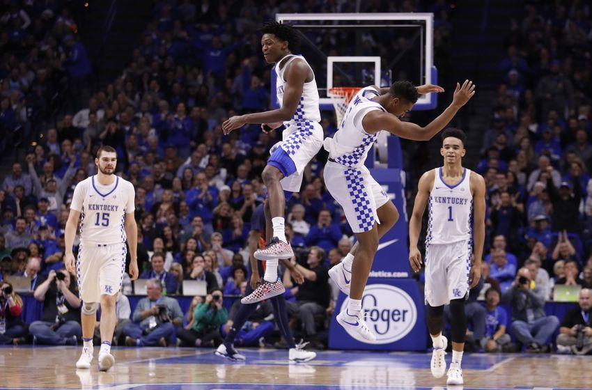Nov 25, 2016; Lexington, KY, USA; Kentucky Wildcats guard Malik Monk (5) and guard De'Aaron Fox (0) celebrate during the game against the Tennessee-Martin Skyhawks in the second half at Rupp Arena. Kentucky defeated Tennessee-Martin 111-76. Mandatory Credit: Mark Zerof-USA TODAY Sports