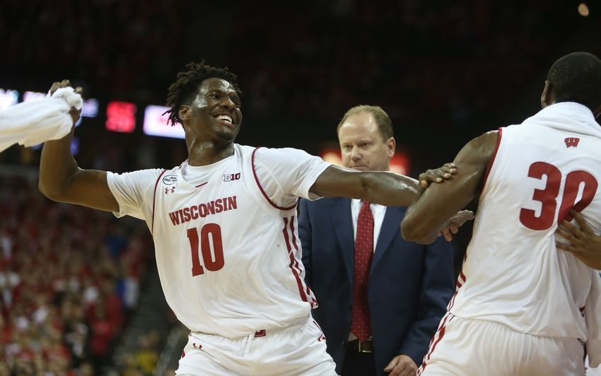 Nov 29, 2016; Madison, WI, USA; Wisconsin Badgers forward Nigel Hayes (10) playfully reacts after he misses a triple double by one point near the end of the game with the Syracuse Orange at the Kohl Center. Wisconsin defeated Syracuse 77-60. Mandatory Credit: Mary Langenfeld-USA TODAY Sports