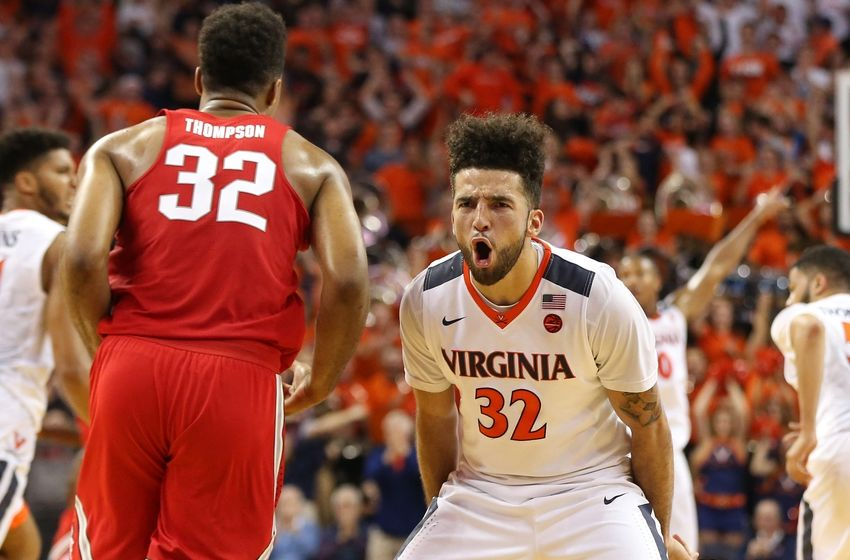Nov 30, 2016; Charlottesville, VA, USA; Virginia Cavaliers guard London Perrantes (32) reacts after making a three-point field goal against the Ohio State Buckeyes in the second half at John Paul Jones Arena. The Cavaliers won 63-61. Mandatory Credit: Geoff Burke-USA TODAY Sports
