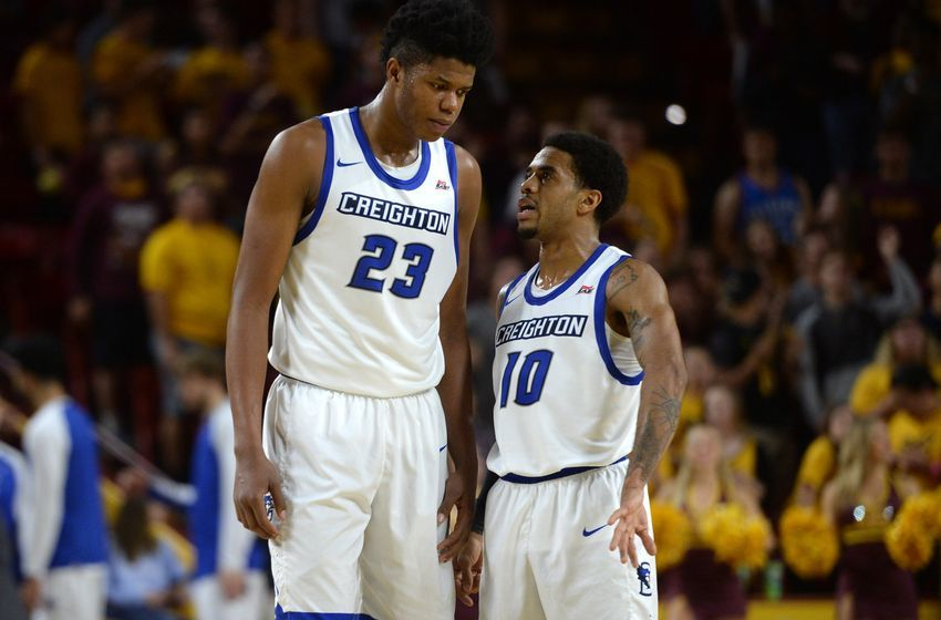 Dec 20, 2016; Tempe, AZ, USA; Creighton Bluejays center Justin Patton (23) and guard Maurice Watson Jr. (10) talk during the second half against the Arizona State Sun Devils at Wells-Fargo Arena. Creighton won 96-85. Mandatory Credit: Joe Camporeale-USA TODAY Sports