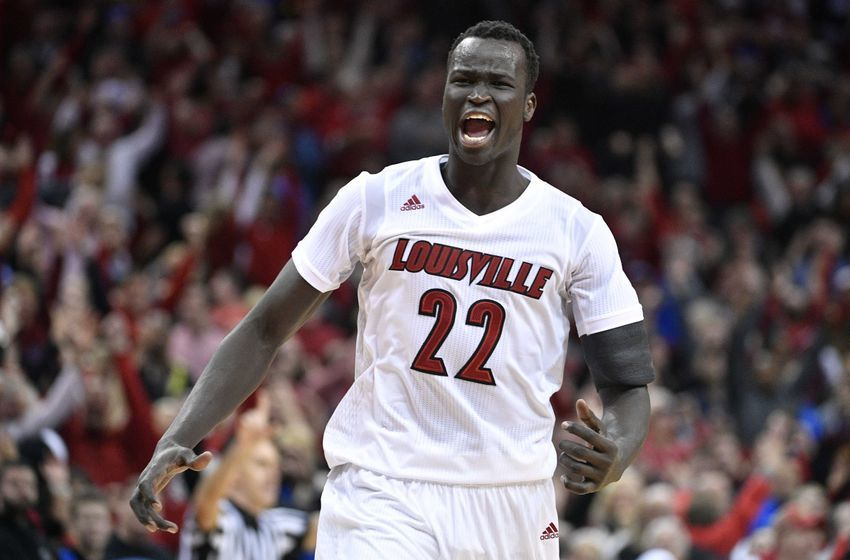 Dec 21, 2016; Louisville, KY, USA; Louisville Cardinals forward Deng Adel (22) reacts after time expired in the second half against the Kentucky Wildcats at KFC Yum! Center. Louisville defeated Kentucky 73-70. Mandatory Credit: Jamie Rhodes-USA TODAY Sports