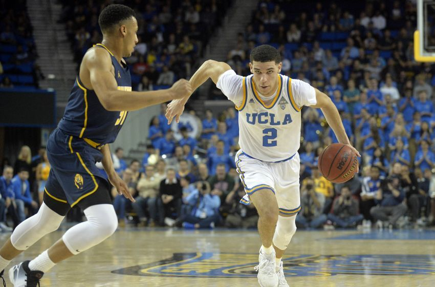 January 5, 2017; Los Angeles, CA, USA; UCLA Bruins guard Lonzo Ball (2) moves to the basket against the defense of California Golden Bears guard Stephen Domingo (31) during the second half at Pauley Pavilion. Mandatory Credit: Gary A. Vasquez-USA TODAY Sports
