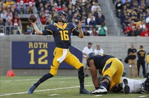 Sep 14, 2013; Berkeley, CA, USA; California Golden Bears quarterback Jared Goff (16) prepares to throw a pass against the Ohio State Buckeyes in the third quarter at Memorial Stadium. The Buckeyes defeated the Golden Bears 52-34. Mandatory Credit: Cary Edmondson-USA TODAY Sports