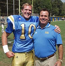 Bob Toledo with quarterback Cory Paus in the summer of 2002.