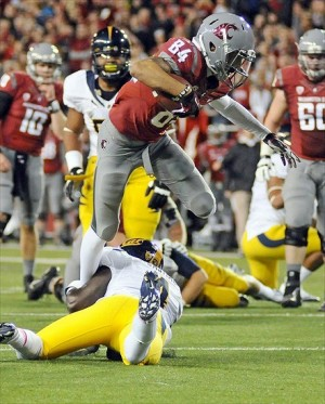 Oct. 13, 2012; Pullman, WA, USA; California Golden Bears defensive back Steve Williams (1) makes the tackle on Washington State Cougars wide receiver Gabe Marks (84) during the first half at Martin Stadium. Mandatory Credit: James Snook-USA TODAY Sports