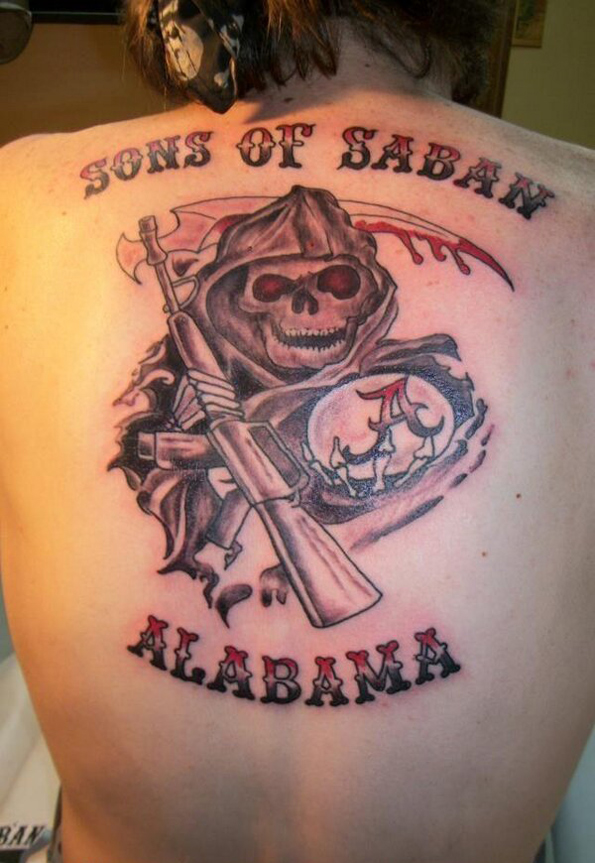 alabama crimson tide fan shows off 39 sons of saban 39 tattoo